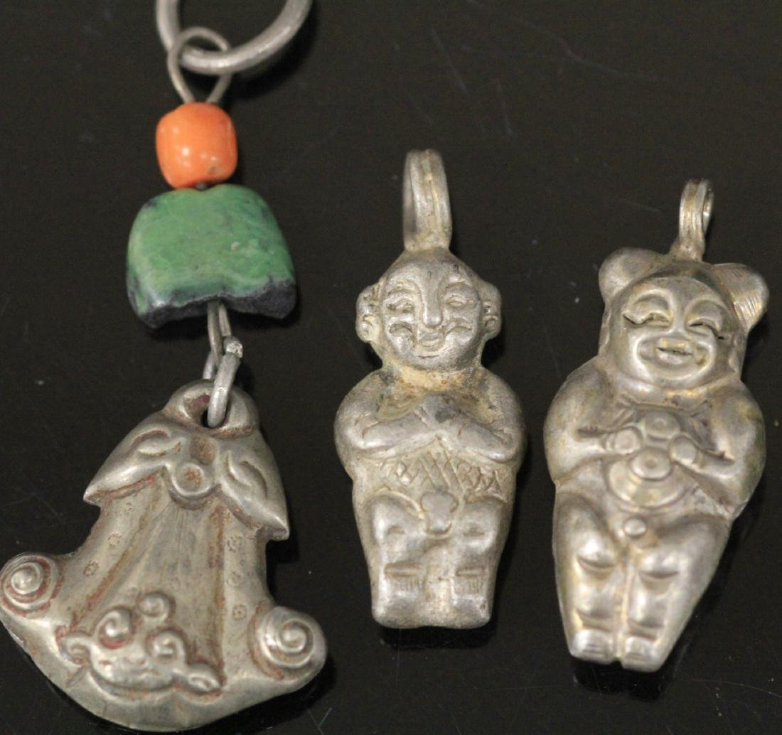 LOT OF (15) CHINESE SILVER FIGURAL PENDANTS - 6