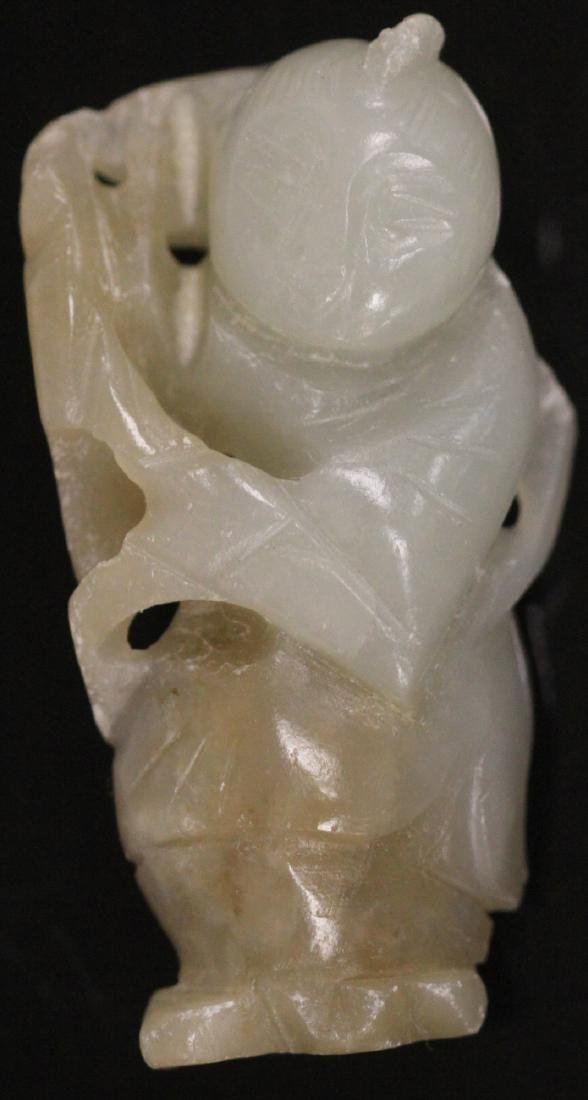 LOT OF (4) CHINESE JADE FIGURAL CARVINGS - 2