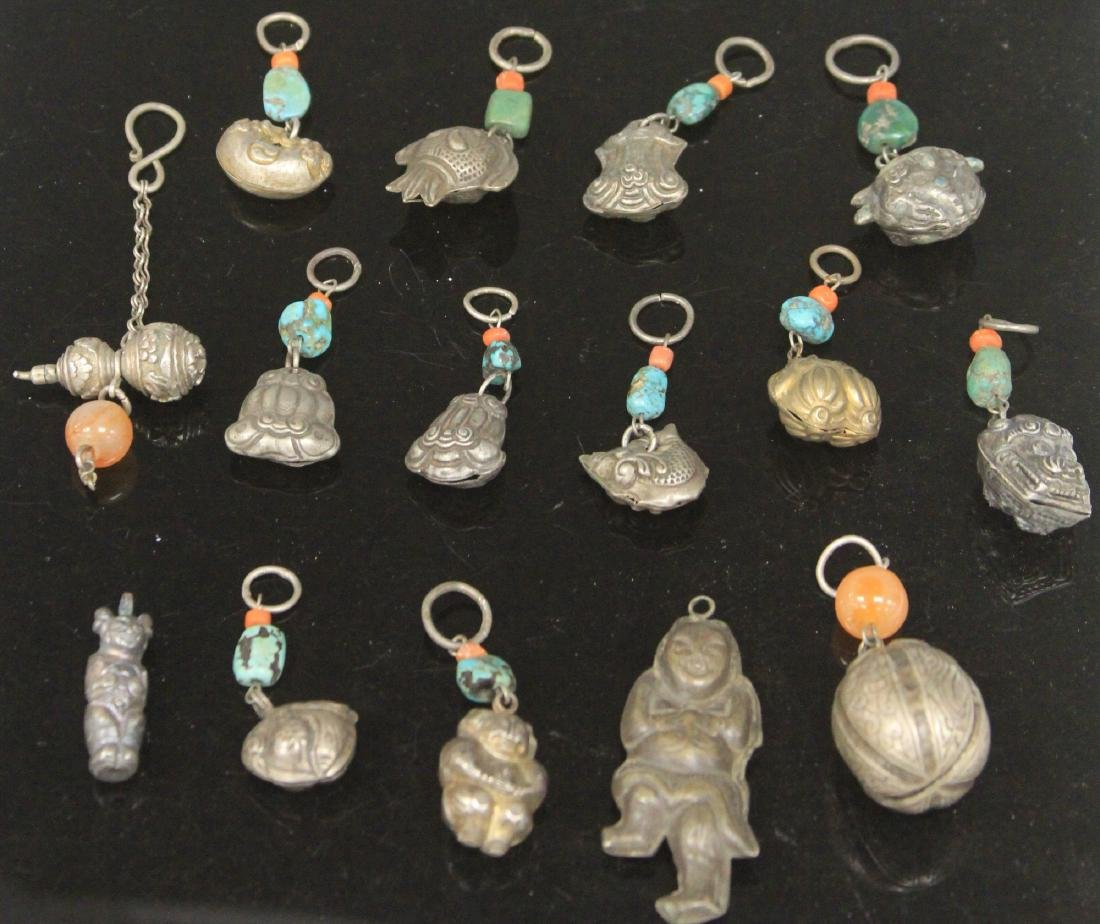 LOT OF (15) CHINESE SILVER PENDANTS