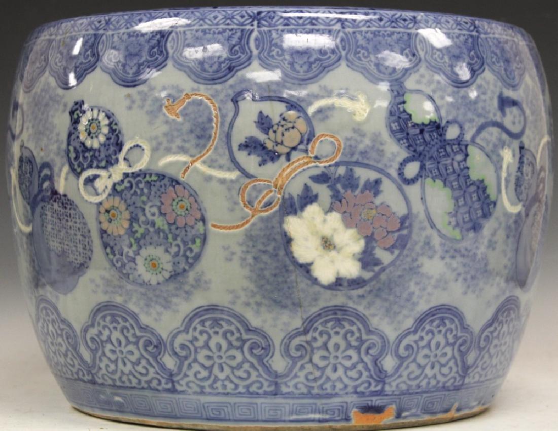 CHINESE BLUE & WHITE POTTERY JARDINERE