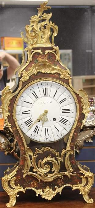 LOUIS XV PERIOD BRONZE SHELF CLOCK 18TH C