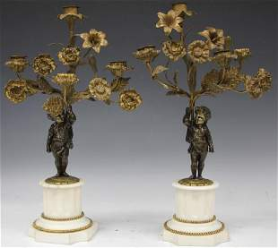 PAIR 19TH C FRENCH BRONZE AND MARBLE CANDELABRAS