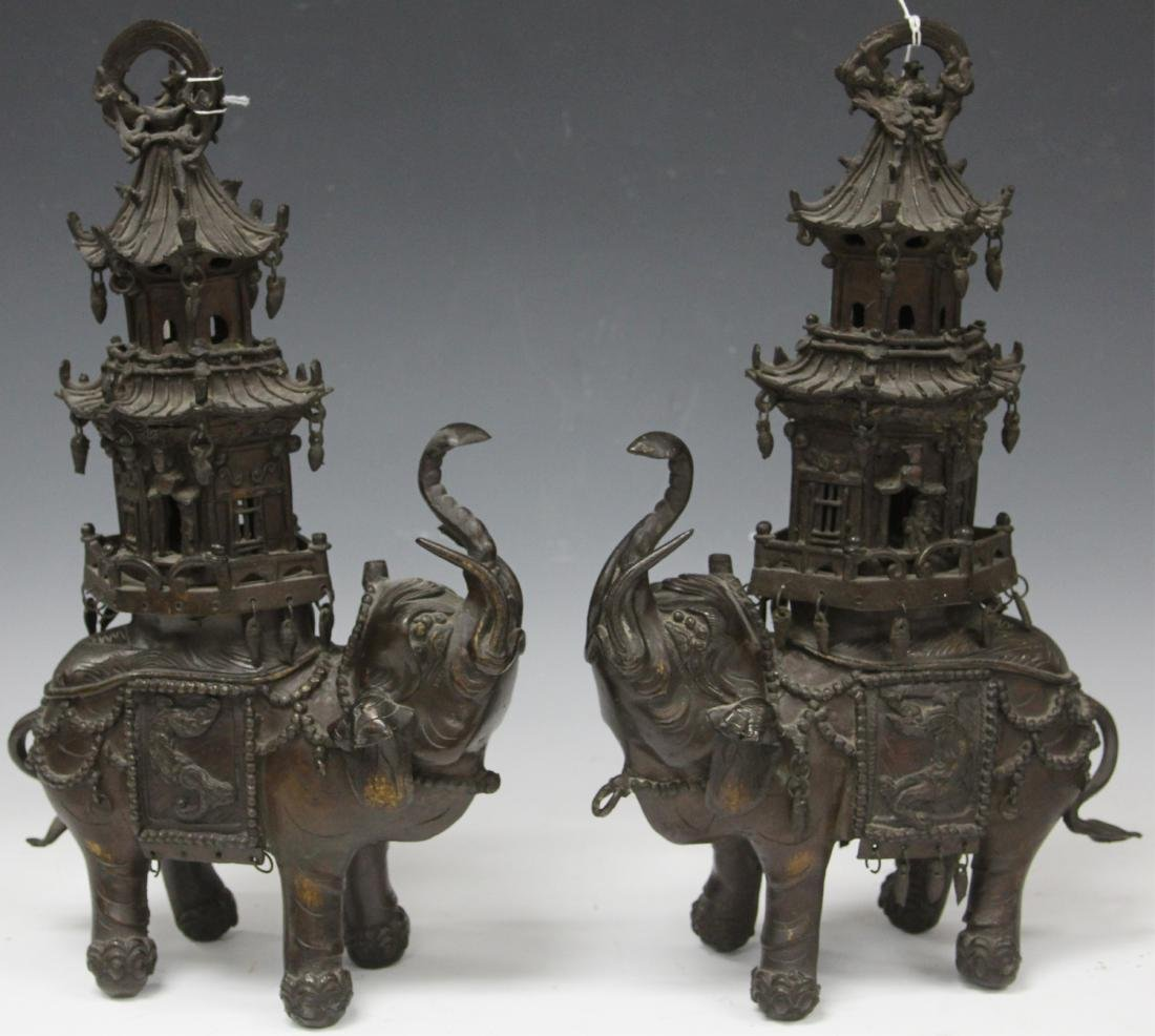 19TH/20TH C. BRONZE ELEPHANT CENSERS