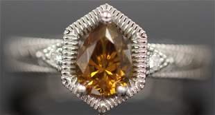 BROWNYELLOW PEAR SHAPED DIAMOND PLATINUM RING