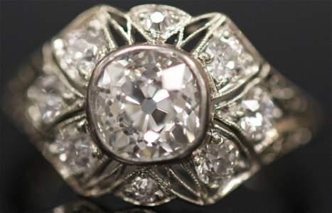 1940'S OLD MINE CUT DIAMOND 14KT WHITE GOLD RING