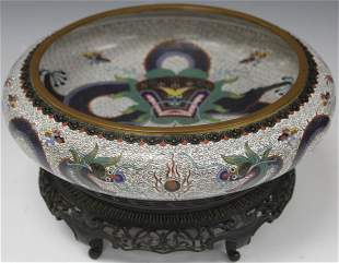 CHINESE CLOISONNE BOWL WITH STAND