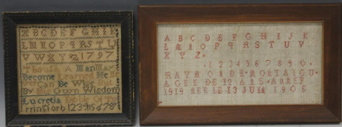 LOT OF (2) ANTIQUE SAMPLERS, 19TH C.