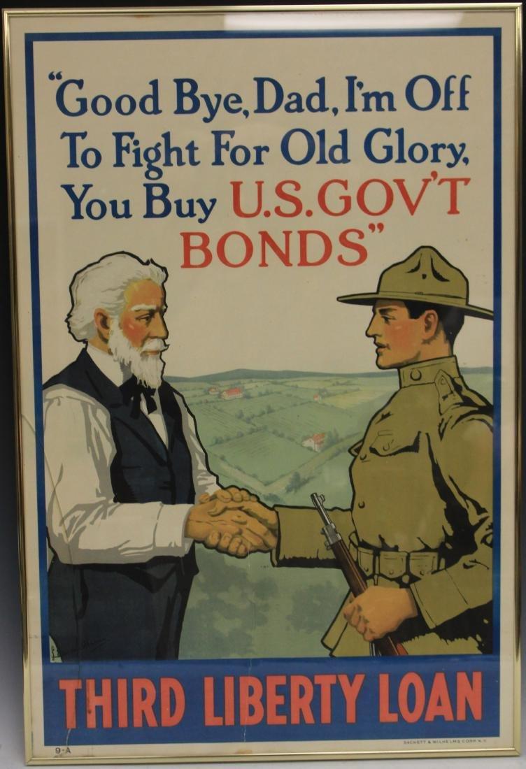 LOT OF (2) VINTAGE WAR BOND POSTERS, FRAMED