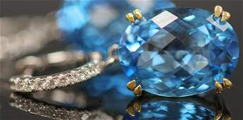 BLUE TOPAZ & DIAMOND TWO TONED 14KT GOLD EARRINGS