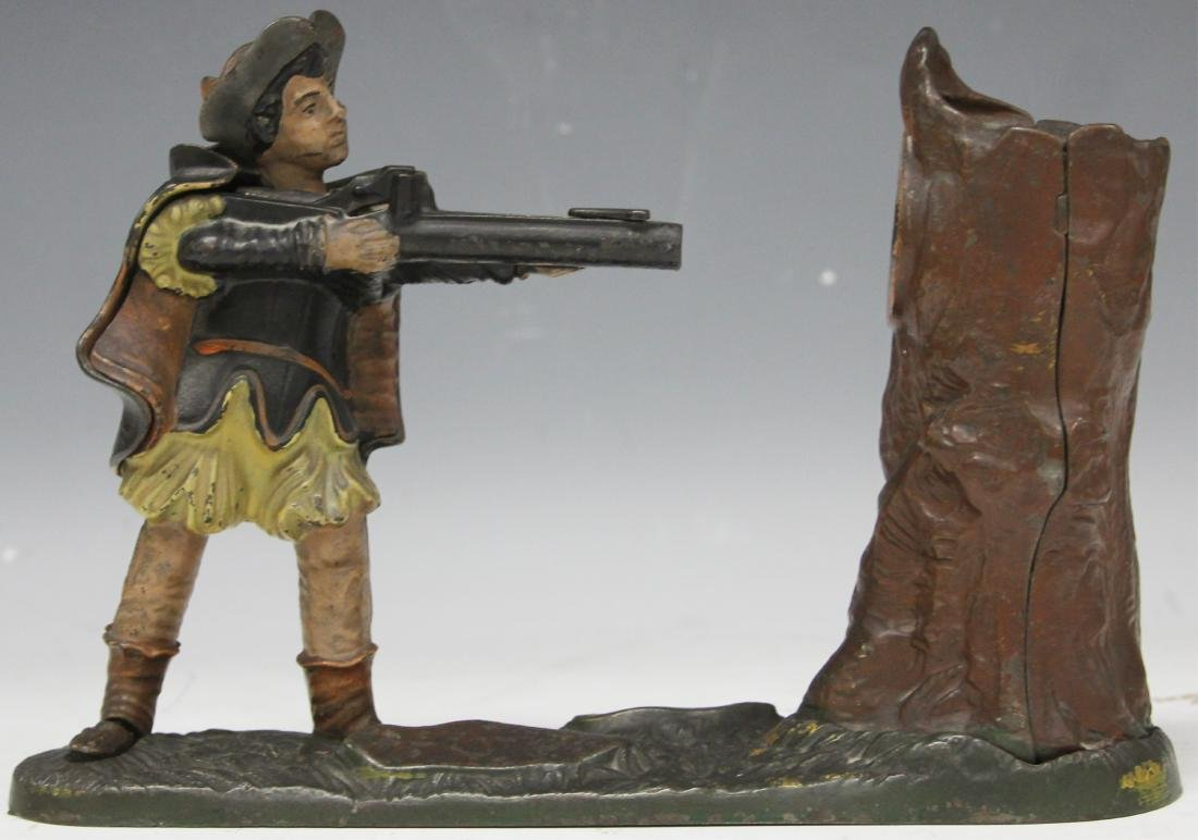 VINTAGE CAST IRON MECHANICAL BANK, WILLIAM TELL - 2