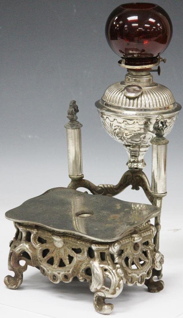 VICTORIAN PLATED CIGAR STAND WITH RED GLOBE