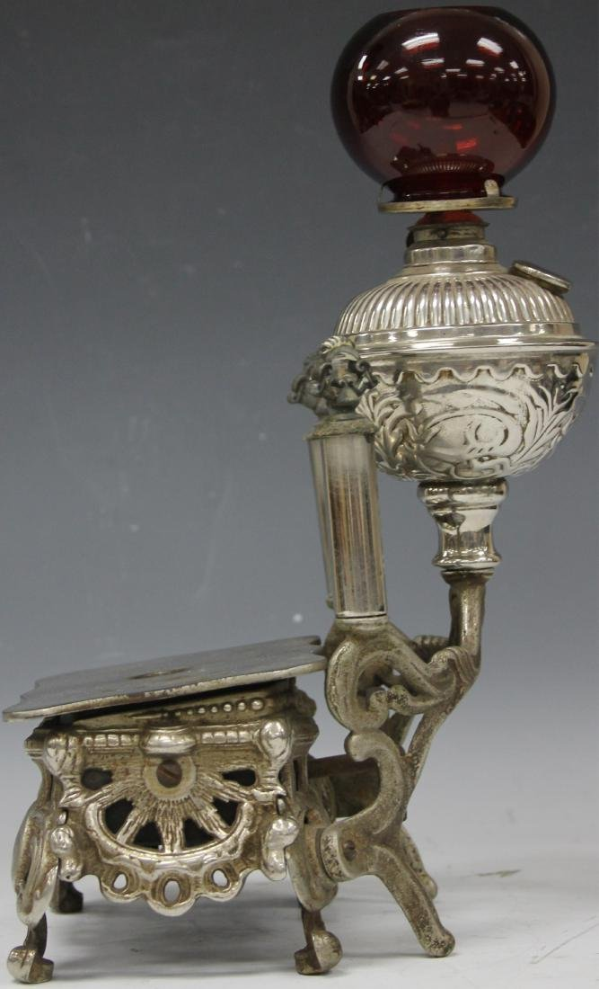 VICTORIAN PLATED CIGAR STAND WITH RED GLOBE - 3