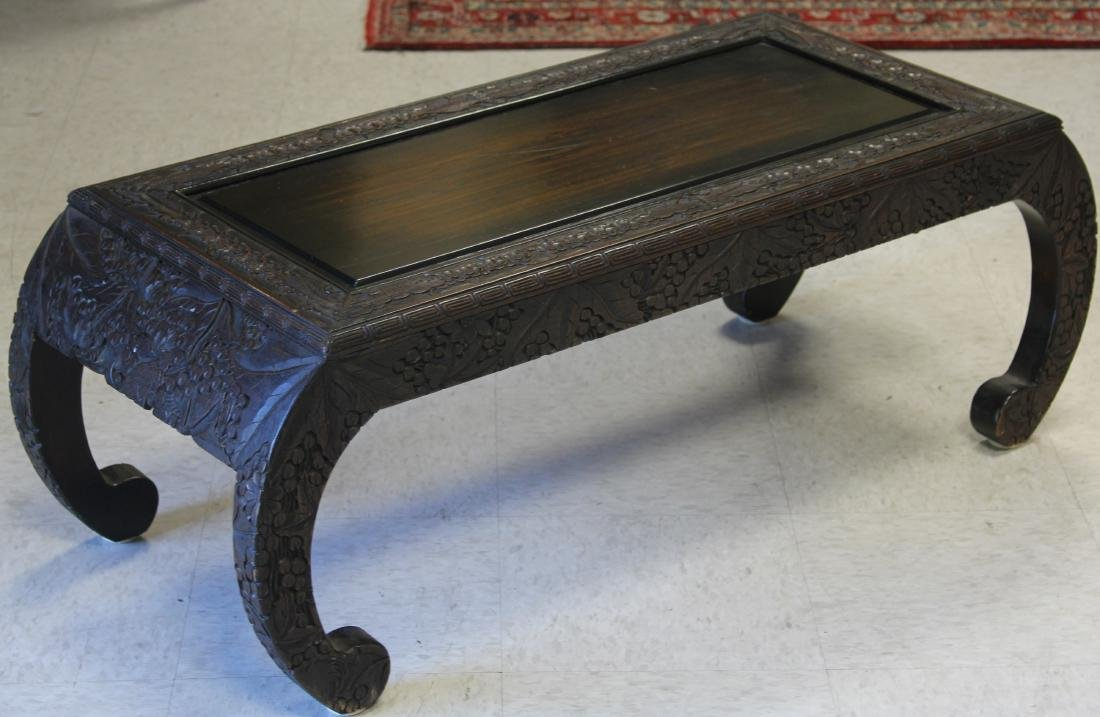 VINTAGE CARVED ASIAN COFFEE TABLE