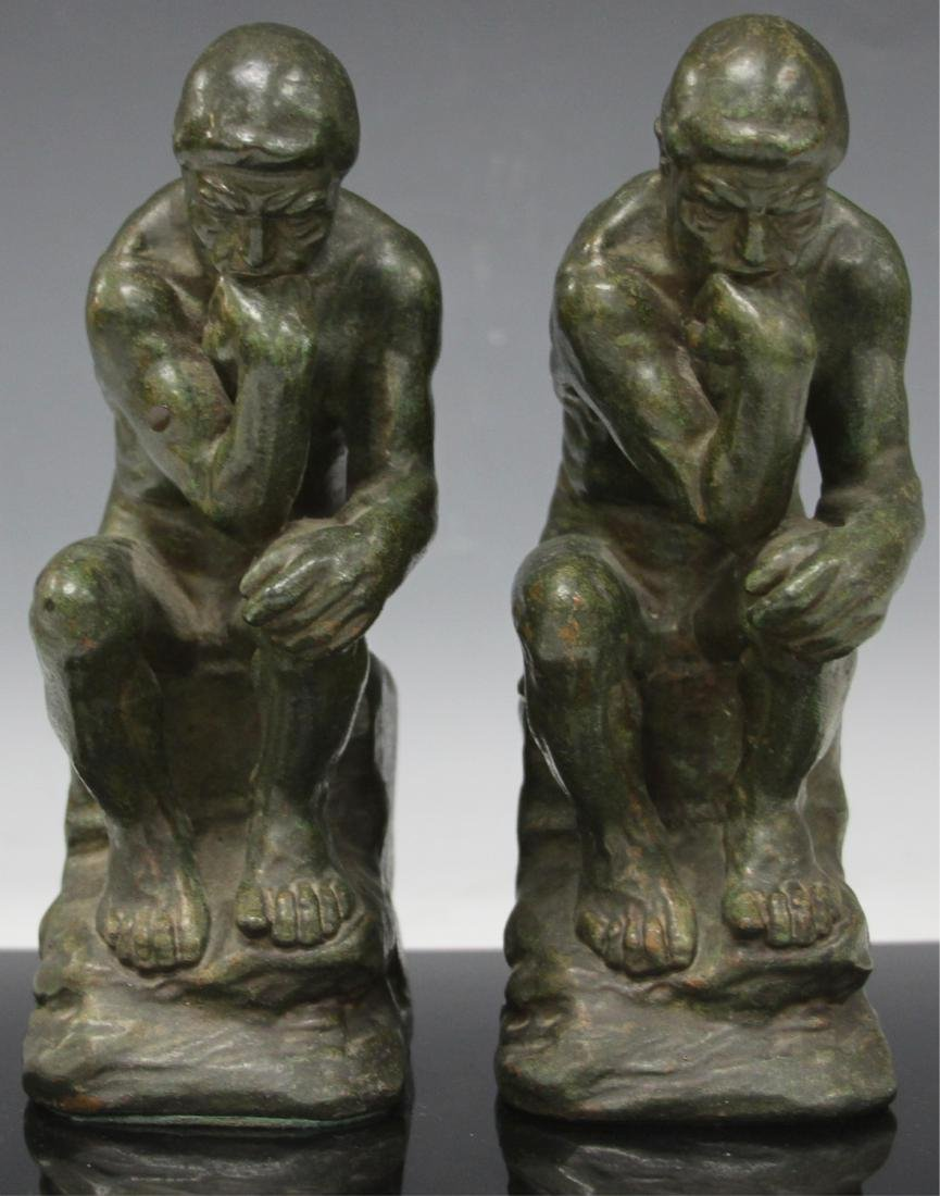PAIR VINTAGE CAST METAL BOOKENDS, RODIN THINKERS