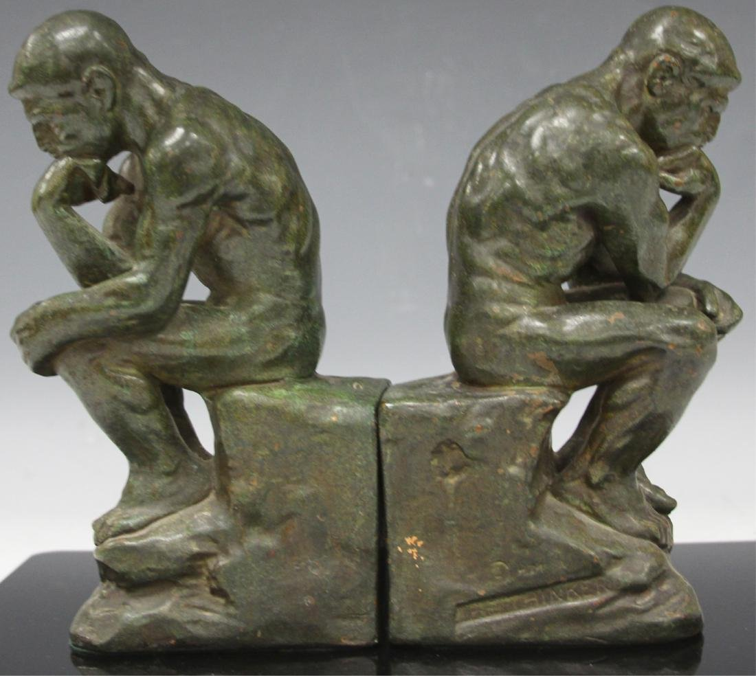 PAIR VINTAGE CAST METAL BOOKENDS, RODIN THINKERS - 2