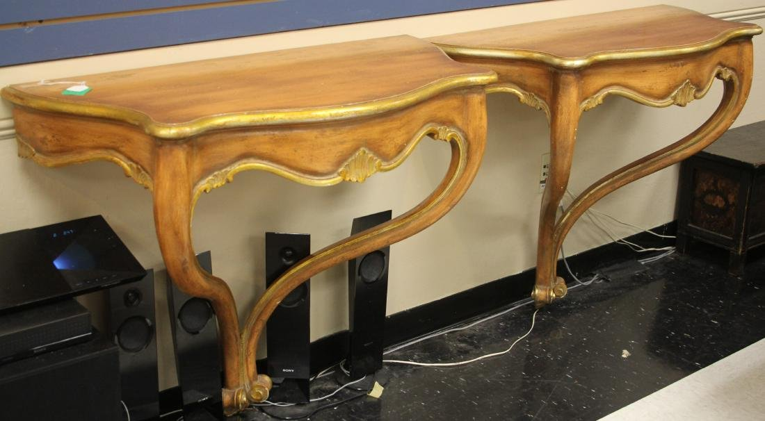 PAIR OF CONTINENTAL STYLE CARVED WALL CONSOLES