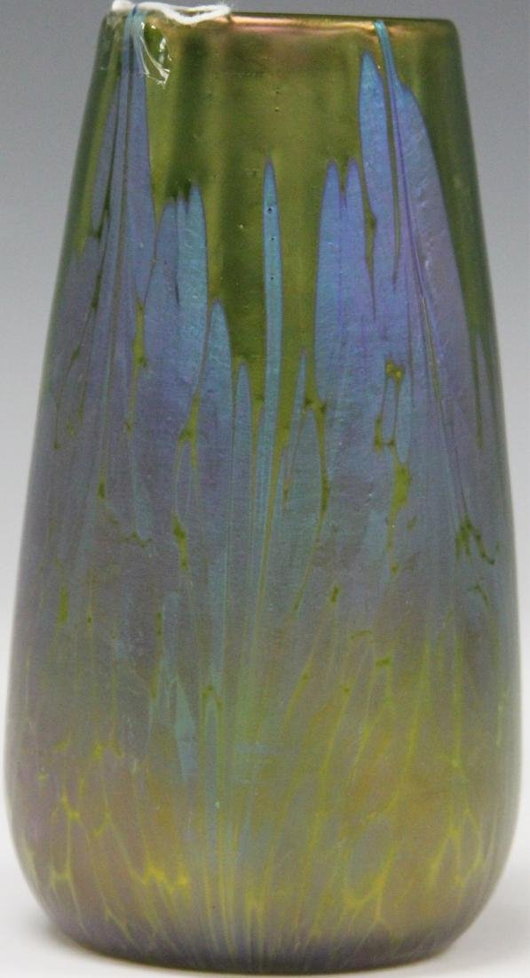 """LOETZ SYTLE GREEN GLASS VASE, 5 1/2"""" H - 2"""