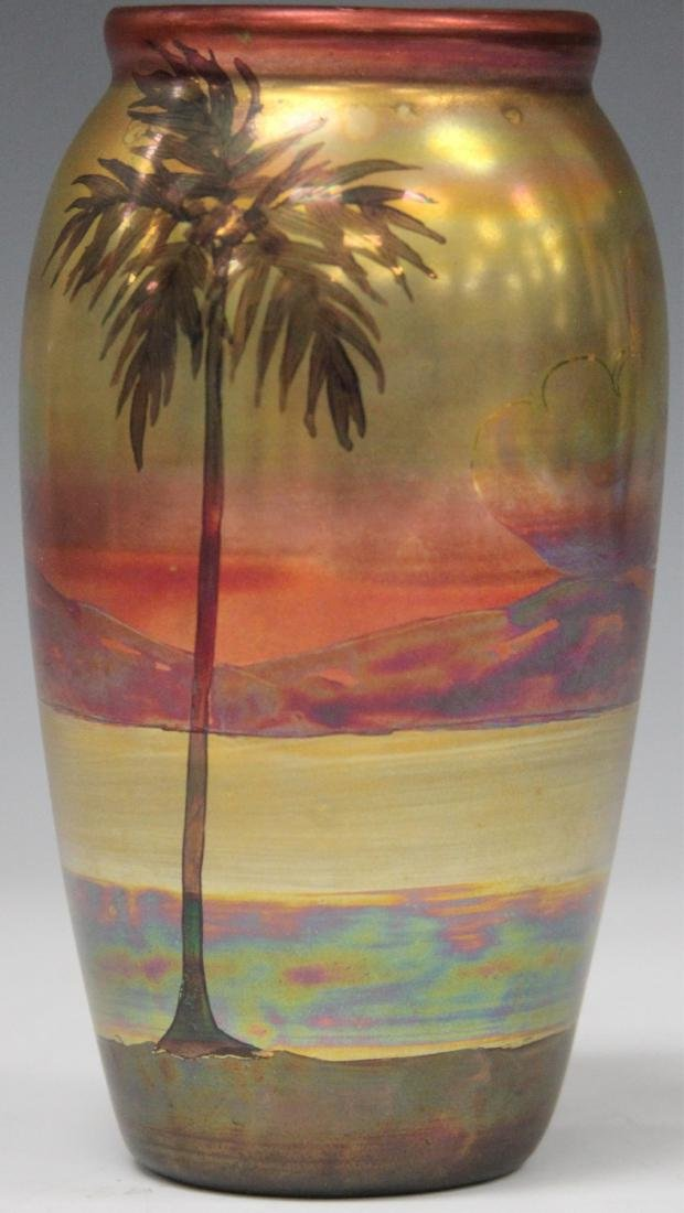 "WELLER PAINTED GLAZE VASE WITH LANDSCAPE, 6"" H"
