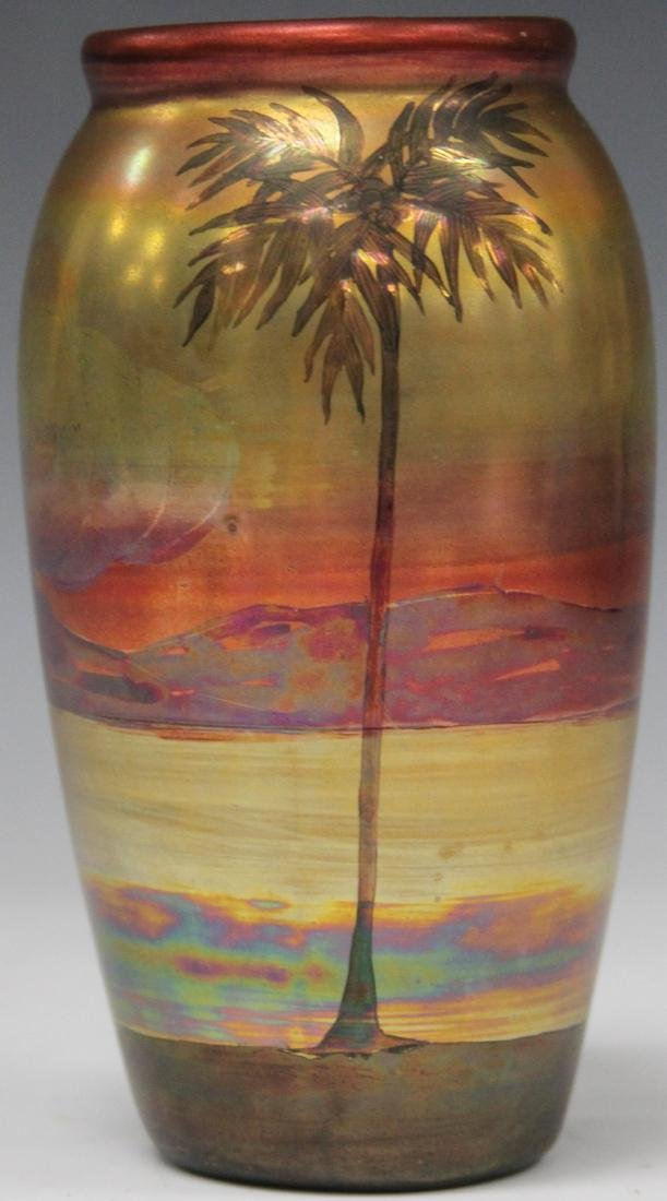 "WELLER PAINTED GLAZE VASE WITH LANDSCAPE, 6"" H - 2"