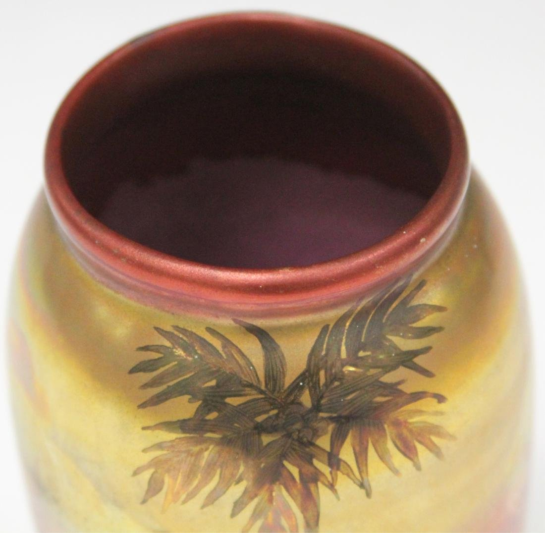 "WELLER PAINTED GLAZE VASE WITH LANDSCAPE, 6"" H - 3"