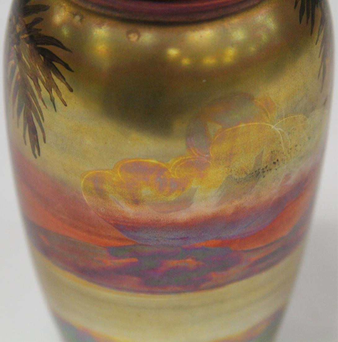 "WELLER PAINTED GLAZE VASE WITH LANDSCAPE, 6"" H - 5"