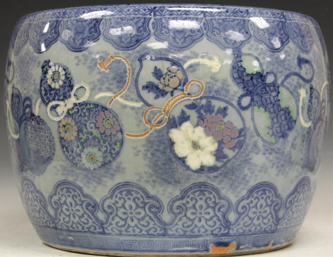 CHINESE BLUE & WHITE POTTERY JARDINERE