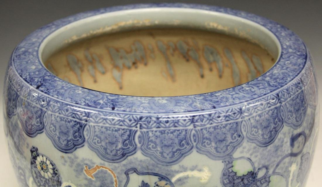 CHINESE BLUE & WHITE POTTERY JARDINERE - 3