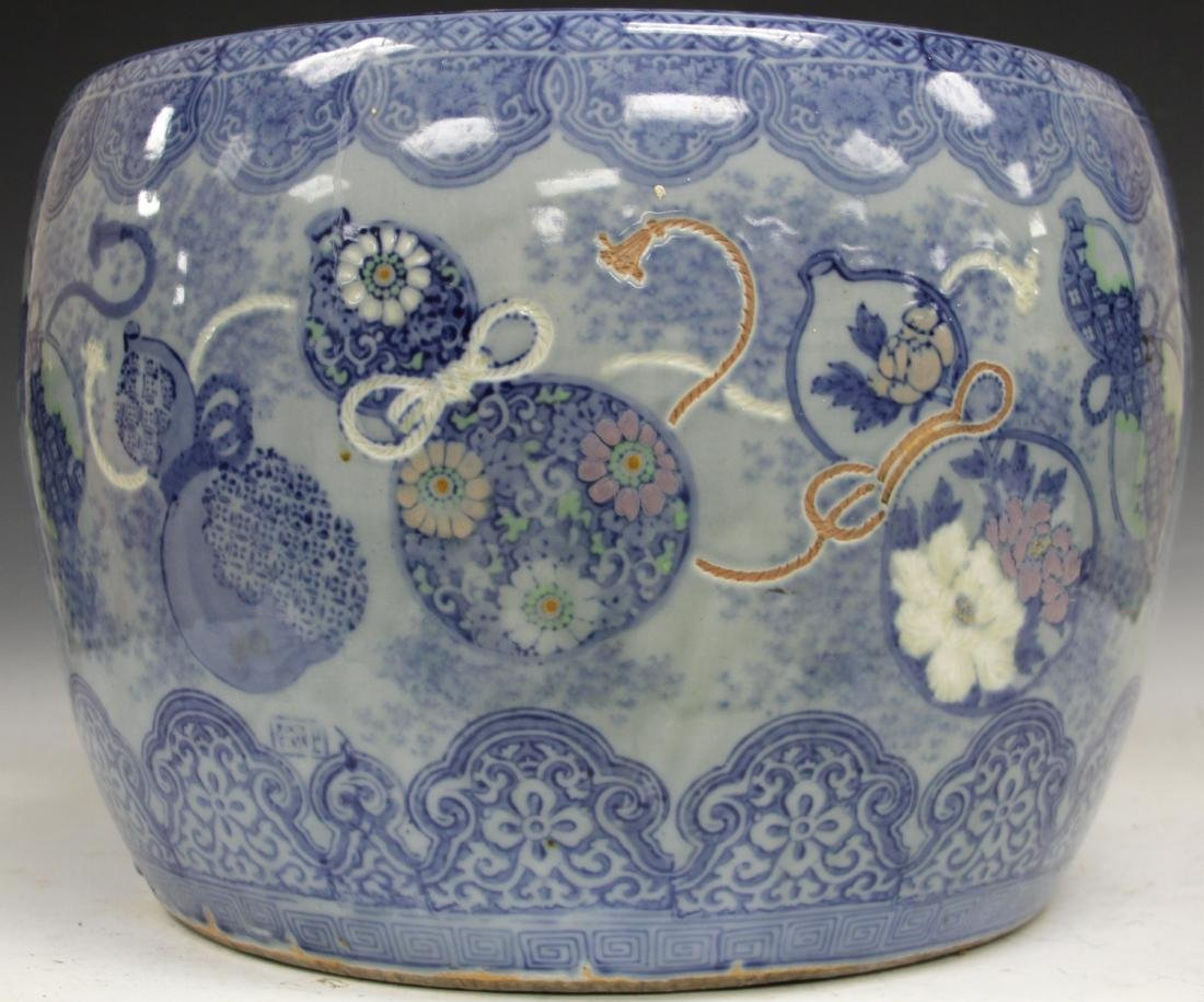 CHINESE BLUE & WHITE POTTERY JARDINERE - 6