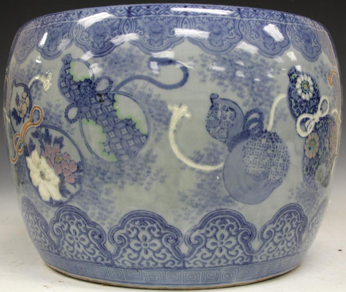 CHINESE BLUE & WHITE POTTERY JARDINERE - 7