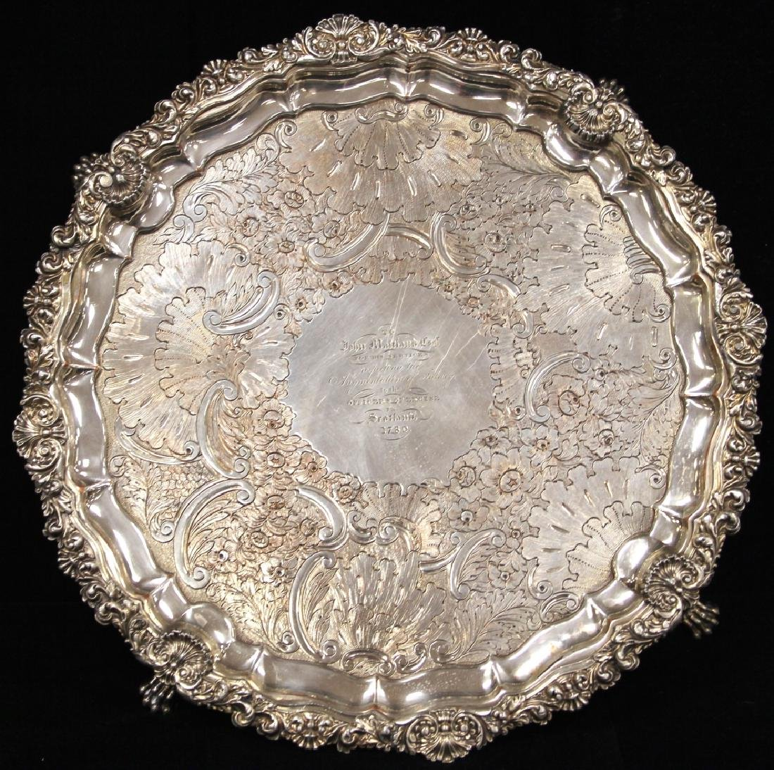GEORGIAN SILVER PLATED FOOTED PRESENTATION TRAY