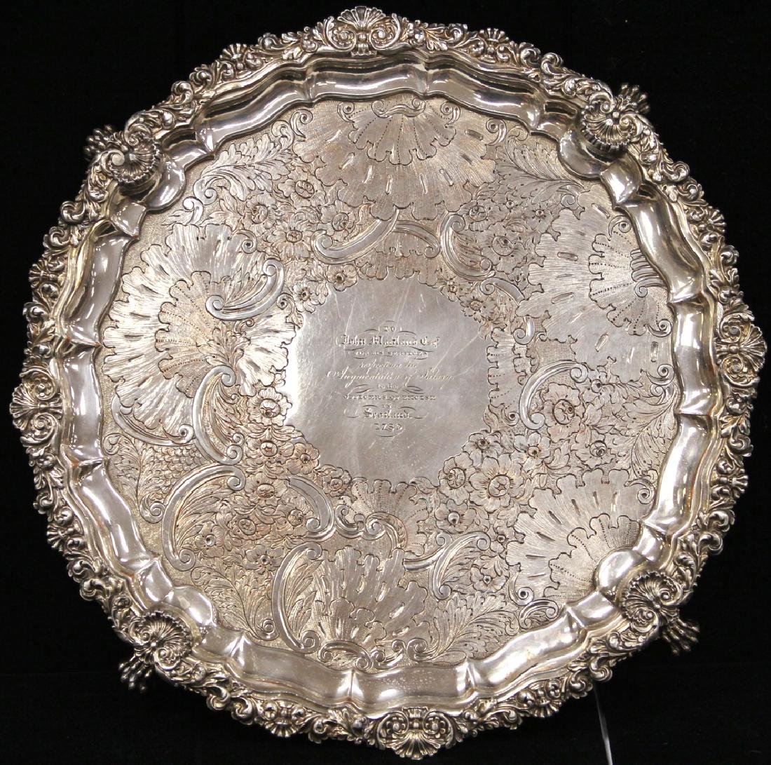 GEORGIAN SILVER PLATED FOOTED PRESENTATION TRAY - 3