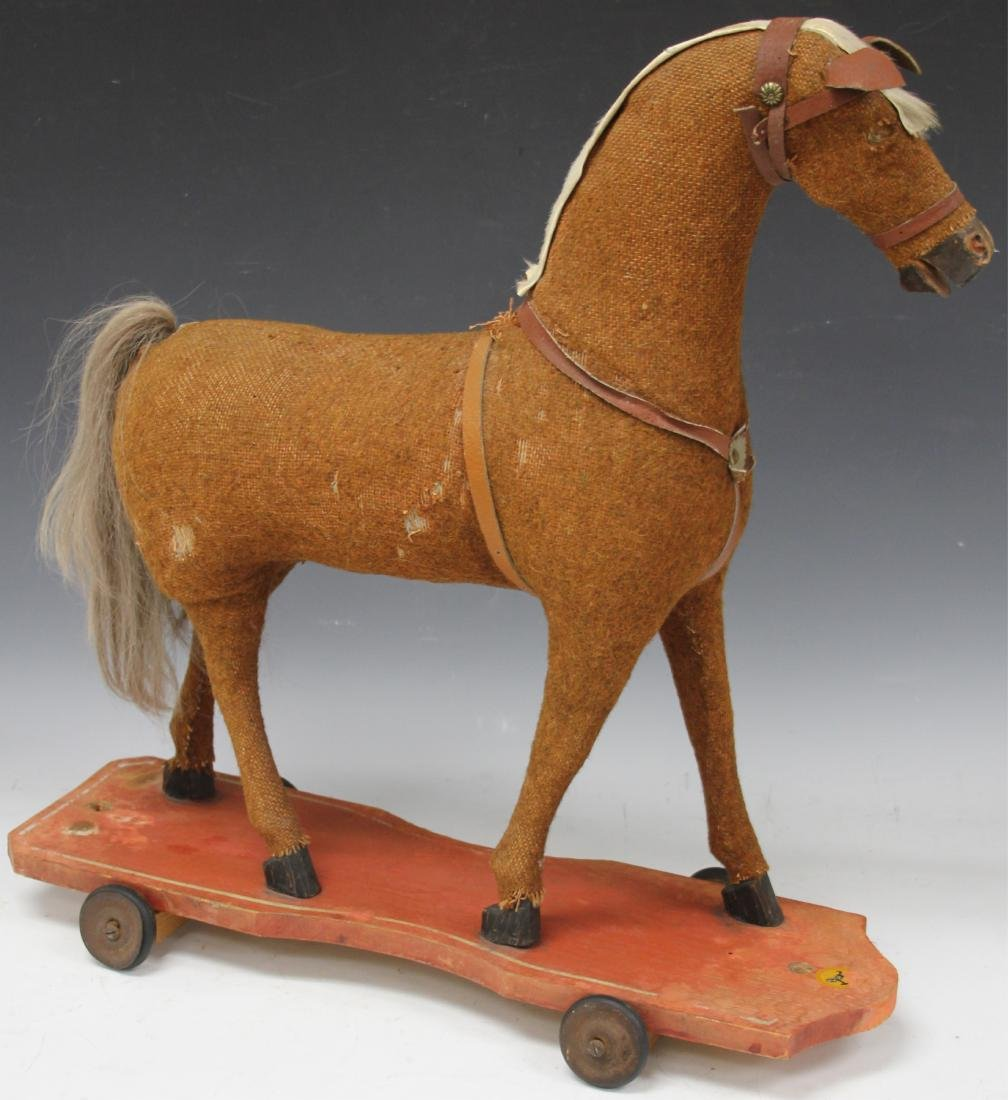 VINTAGE HORSE PULL TOY, 23""