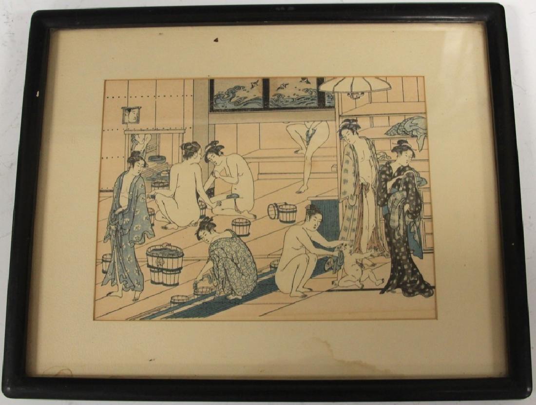 PAIR OF JAPANESE PRINTS, INCL. WOODBLOCK - 2