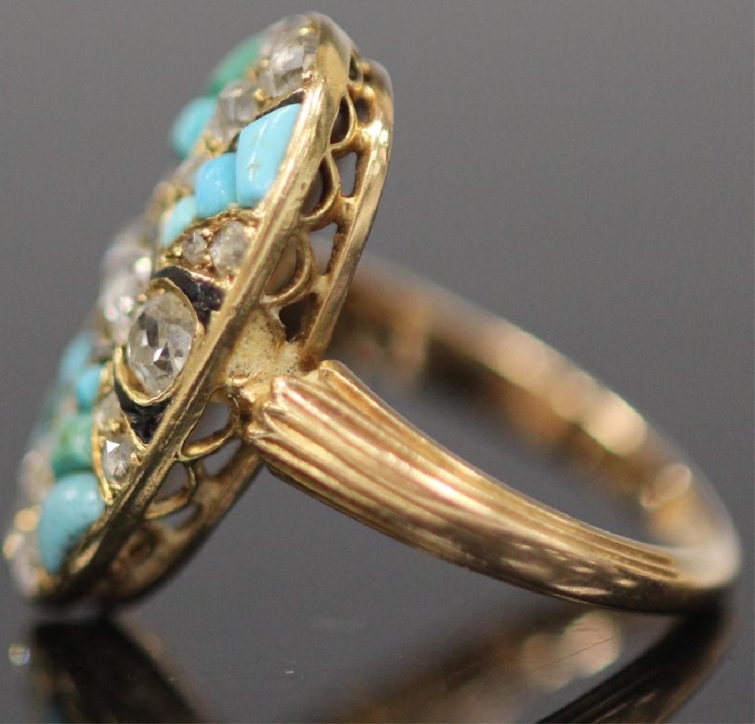 ANTIQUE DIAMOND & PERSIAN TURQUOISE GOLD RING - 5