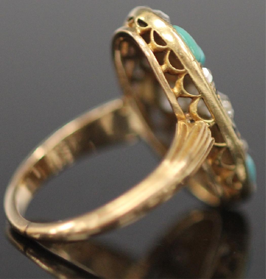 ANTIQUE DIAMOND & PERSIAN TURQUOISE GOLD RING - 6