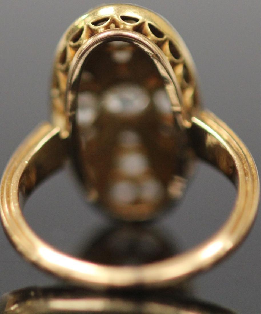 ANTIQUE DIAMOND & PERSIAN TURQUOISE GOLD RING - 8