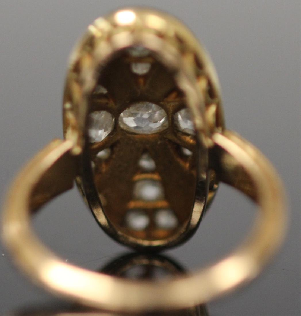 ANTIQUE DIAMOND & PERSIAN TURQUOISE GOLD RING - 9