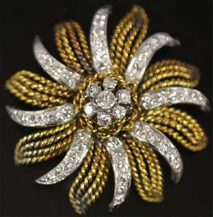 LADY'S DIAMOND 14KT GOLD BROOCH, 31.1 GRAMS