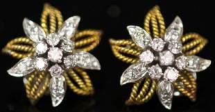 LADYS DIAMOND 14KT GOLD EARRINGS