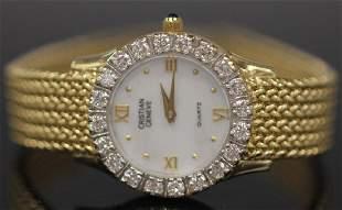 LADY'S CHRISTIAN GENEVE DIAMOND 14KT WRISTWATCH