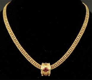 18KT GOLD JEWELRY SET W DIAMONDS TOURMALINE