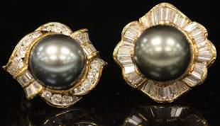 BLACK PEARL DIAMOND 18KT GOLD EARRINGS