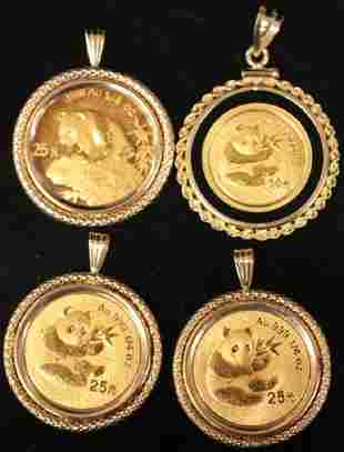 LOT OF (4) 14KT GOLD PENDANTS W/ .999 COINS