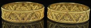 LOT OF (2) 22KT YELLOW GOLD BANGLE BRACELETS