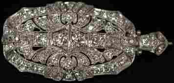 LADY'S DIAMOND PLATINUM ART DECO BROOCH, 2.85 CTTW