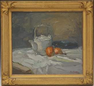 S.C. YUAN (1911-1974), OIL ON BOARD, STILL LIFE