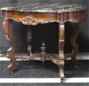 AMERICAN ROSEWOOD MARBLE TOP CENTER TABLE 19TH C