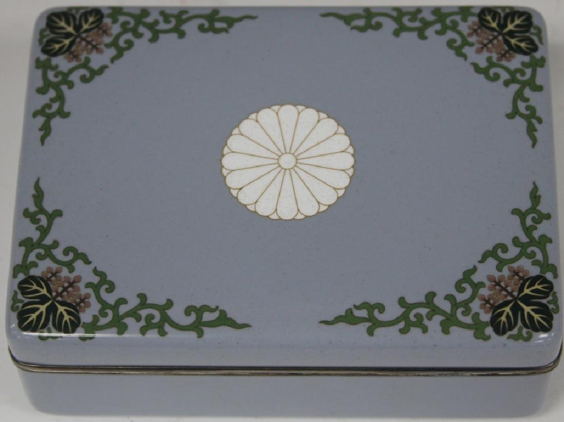 JAPANESE CLOISONNE OVER SILVER SQUARE BOX, 19TH C.