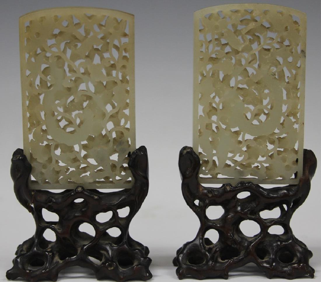 PAIR OF CHINESE JADE CARVINGS, 19TH C.