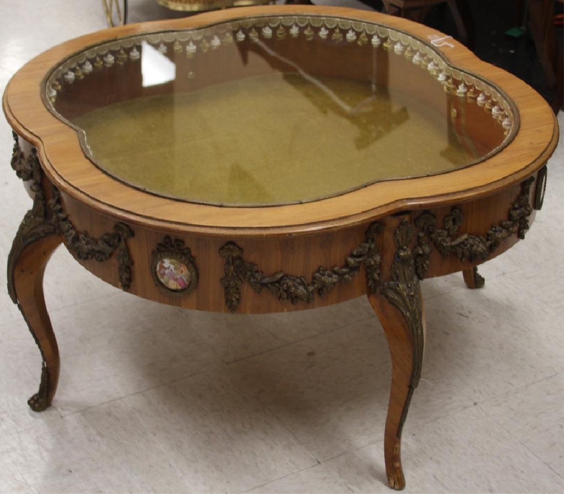 FRENCH GLASS TOP CURIO COFFEE TABLE
